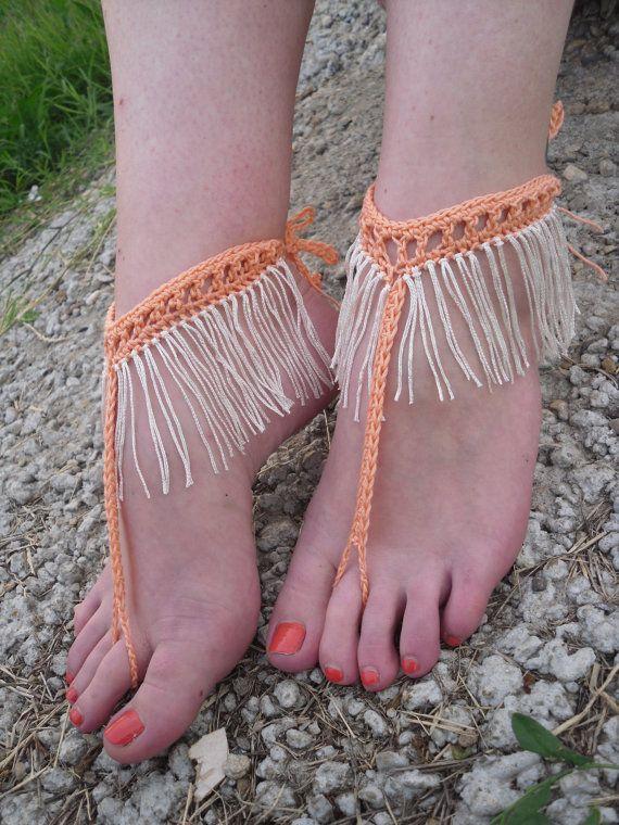 Free Shipping Handmade Fringe Crochet Barefoot by Serbiangirl