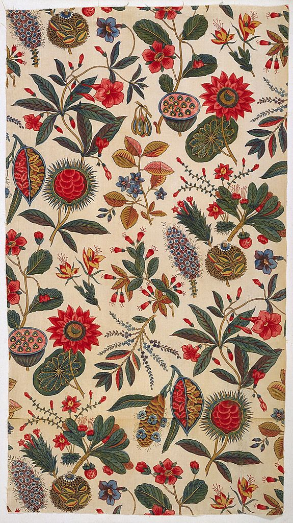 Textile France Oberkampf * ca. 1796 Medium: cotton Technique: block-printed: black, 2 reds; other colors applied by brush; plain weave foundation Exotic flowering plants in bright colors scattered on a white background.