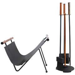 Copper and Iron Fireplace Tools and Wood Carrier   From a unique collection of antique and modern fireplace tools and chimney pots at https://www.1stdibs.com/furniture/building-garden/fireplace-tools-chimney-pots/
