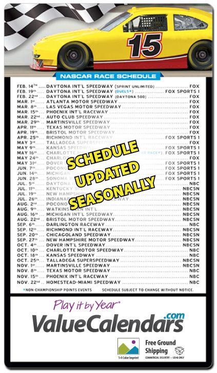 """2017 Magnetic Nascar Racing Schedule (Large) Calendar   4"""" x 7"""" Customized Magnet Professional Race Schedules   NASCAR racing magnet schedule   promotional NASCAR magnet   advertising NASCAR schedule magnet"""