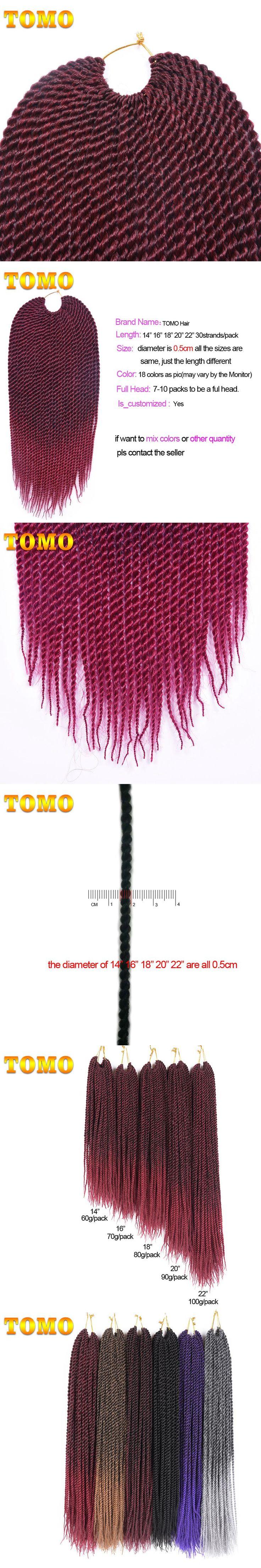 "TOMO 14"" 16"" 18"" 20"" 22"" 30strands Synthetic Senegalese Twist Crochet Hair Extensions Ombre Kanekalon Havana Twist Crochet Braid"