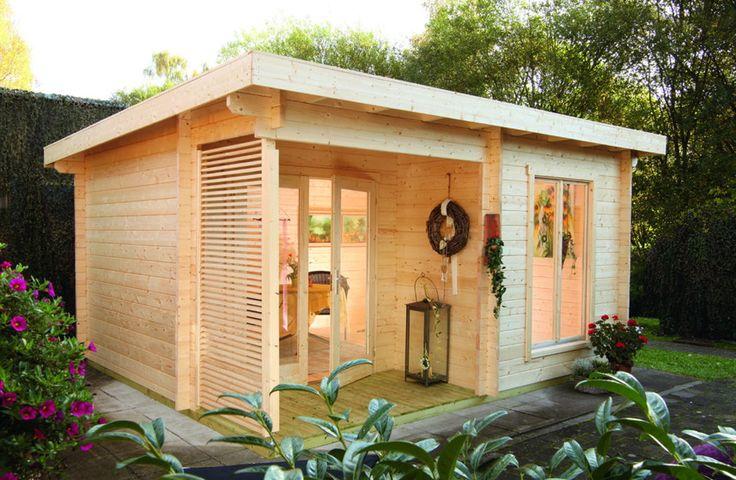 Gartenhaus WOLFF Laura 44 Flachdach-Gartenhaus - Sch�nes Gartenhaus mit kleiner Terrasse