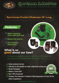 Sportsman Industries Announces Sportsman Pocket Chainsaw Sale For November On Amazon