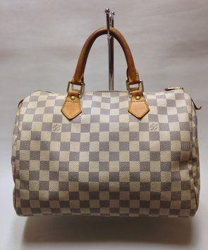 Louis Vuitton Damier Azur Speedy 30 White & Blue Checkered Bag - Satchel 61% off retail