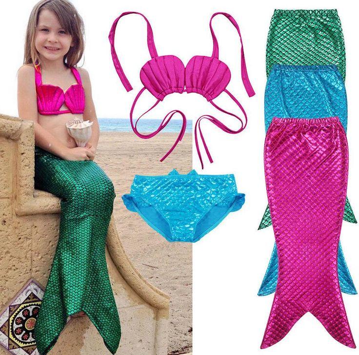 Barato 3 PCS Menina Crianças Sereia Cauda Swimmable Bikini Set Maiô Fantasia…