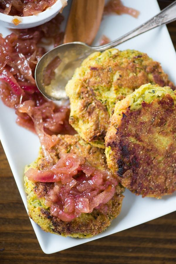 Recipe: Zucchini-Chickpea Fritters with Red Onion Jam | Kitchn
