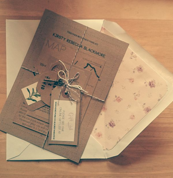 The final DIY Invitation 'package'.
