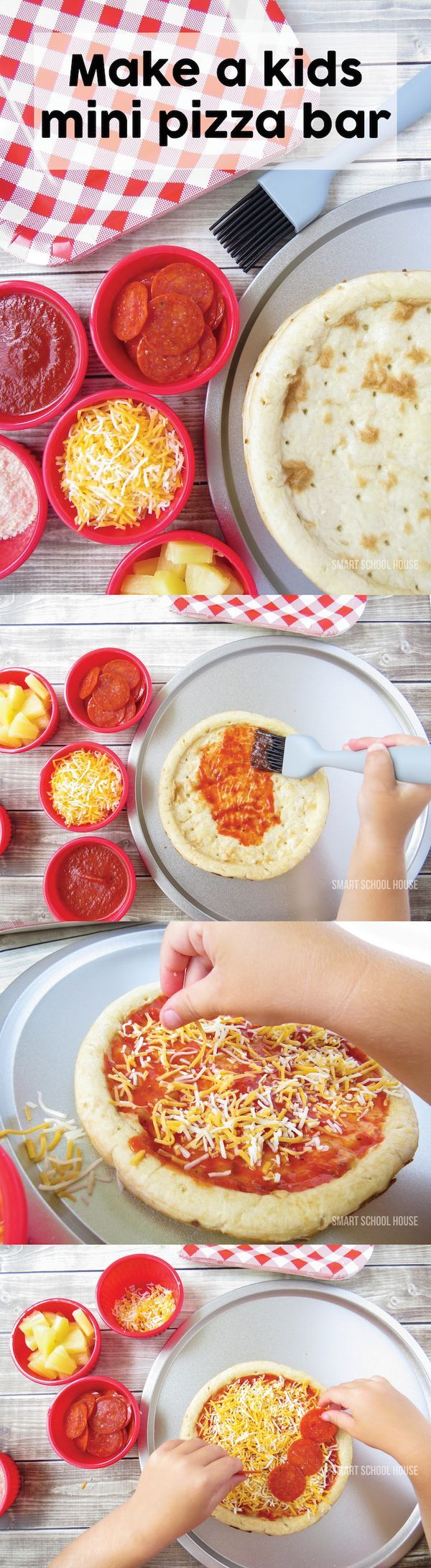 "Make a kids pizza bar! Include mini pizzas, small cups of various toppings, and a brush to ""paint"" on the pizza sauce (it keeps things cleaner)."