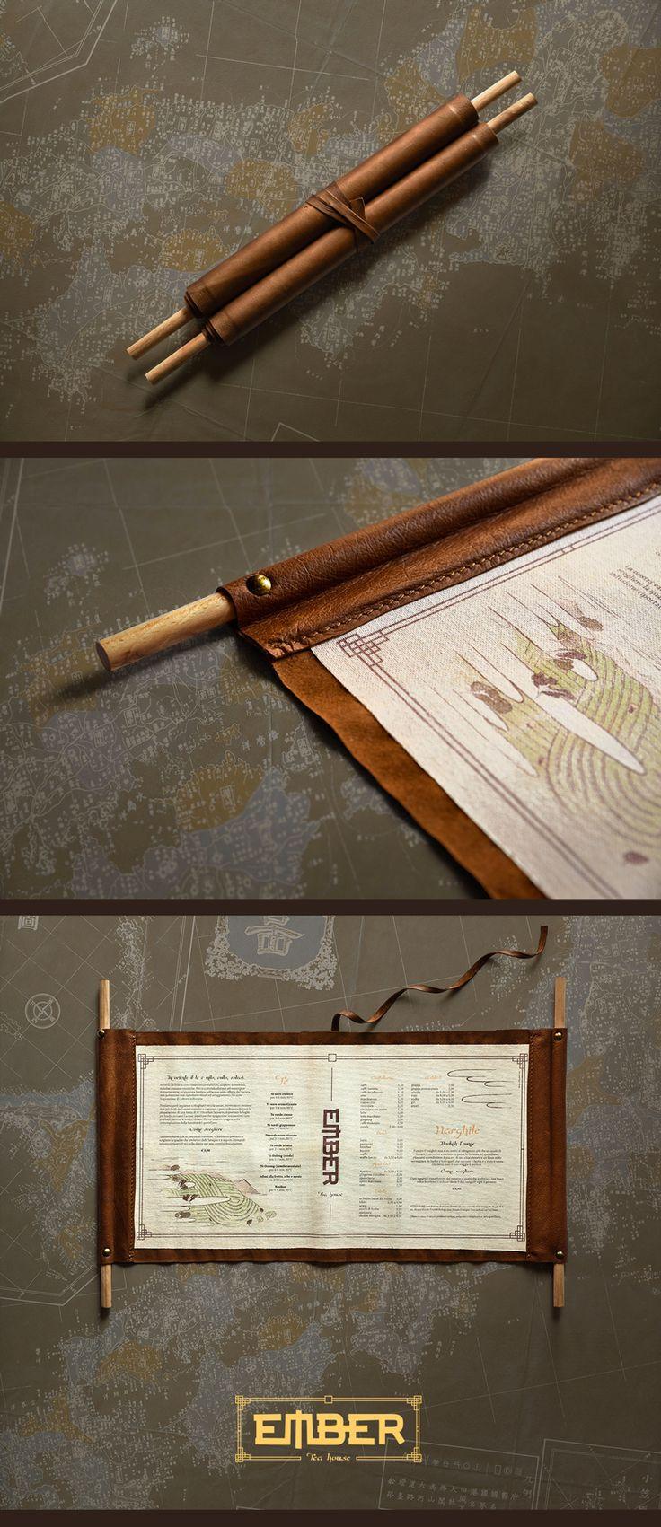 Ember Tea House menu | www.ofmagnet.com #graphic #design #menu #tea #teahouse #teatime #pub #café #east #japan #layout #vertical #handmade #wood #leather
