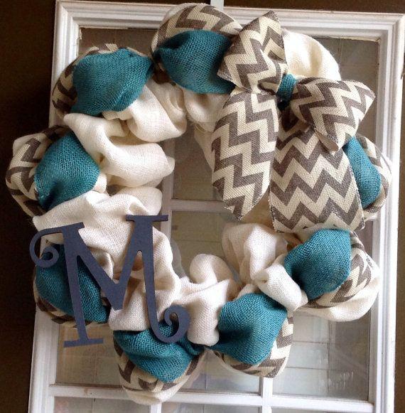 Burlap Wreath - Monogrammed Wreath - Monogrammed Gifts - Summer Wreath - Door Wreath -  Chevron Wreath - Fall Wreath on Etsy, $70.00