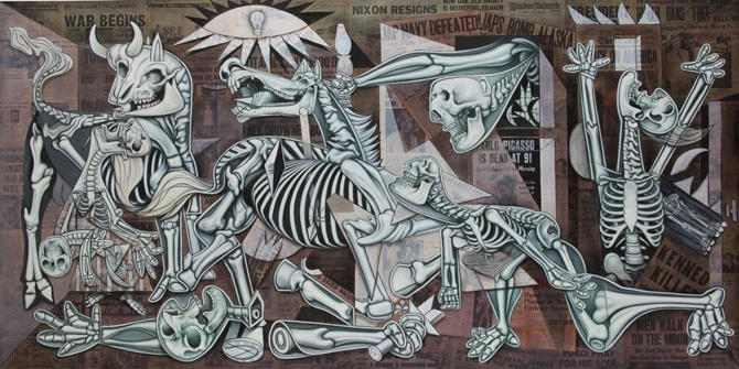 Ron English's take on Pablo Picasso's Guernica