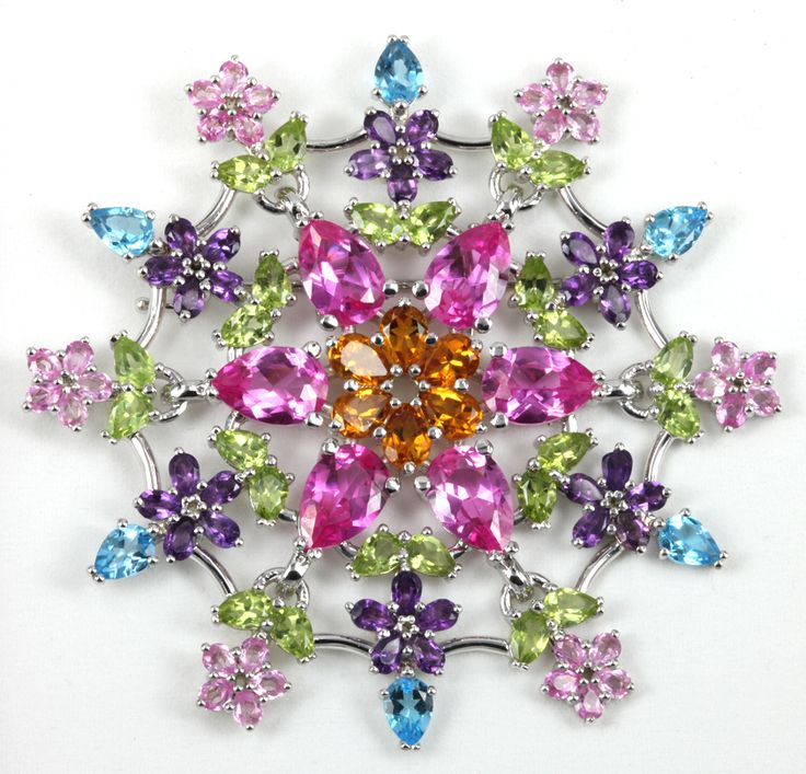 Bouquet brooch -  18ct white gold with multi-coloured gemstones © Kristen Malan 2016