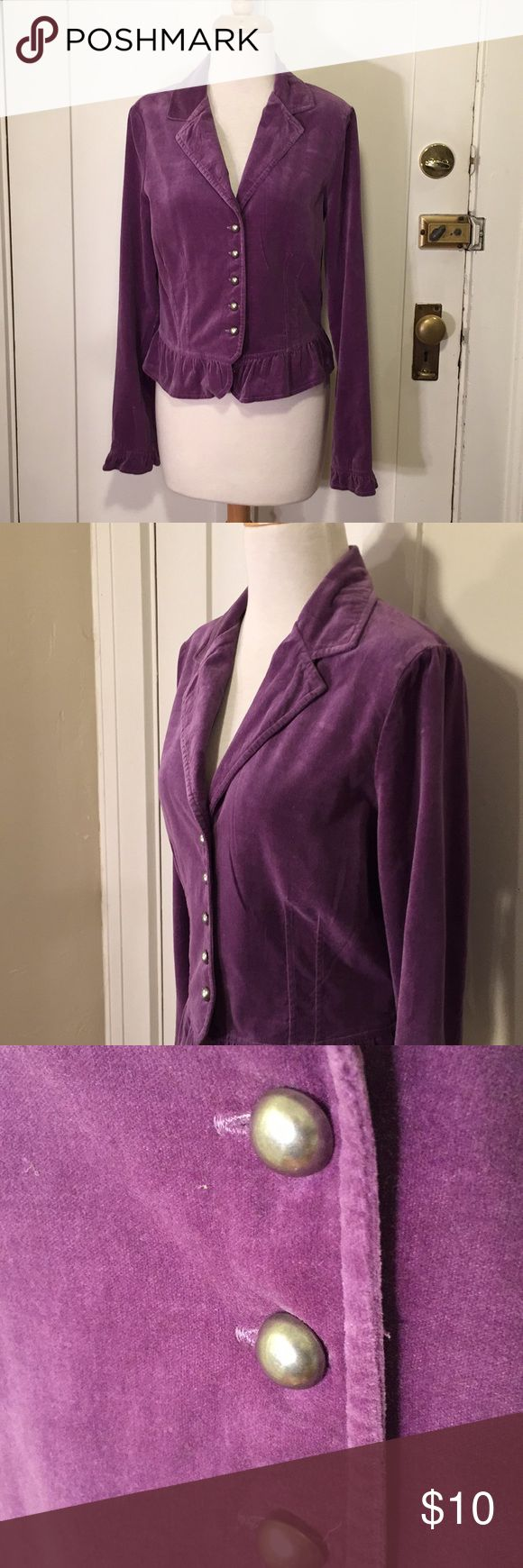 IZ Byer California velvet purple blazer This is a beautiful purple blazer from IZ, purple color with beautiful metal button-down front and button details at cuffs. Good condition, two tiny spots on the bottom ruffle. See pictures for details. Fits more like a medium large. Be sure and check out other items in closet and bundle to receive discounts.This is a Iz Byer Jackets & Coats Blazers