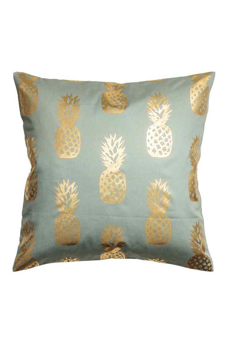 Povlak na polštářek s ananasy - Tlumená zelená - HOME | H&M CZ 1