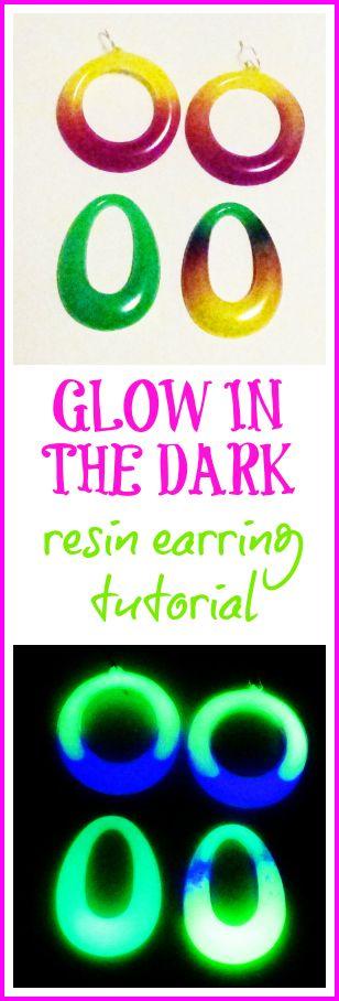 glow resin earrings tutorials