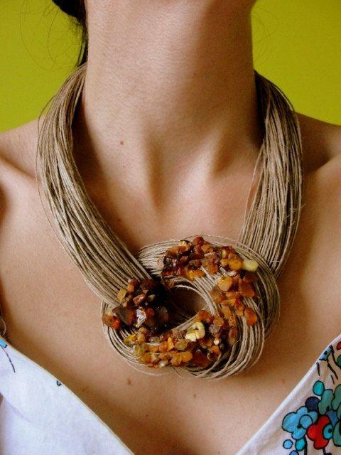 Collar de lino de color ámbar por BUSTANI en Etsy