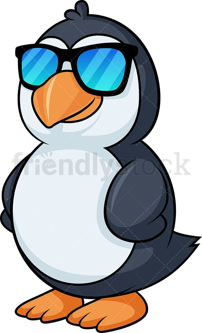 Penguin With Sunglasses Cartoon Clipart Vector Friendlystock Cartoon Clip Art Clip Art Cartoon Illustration