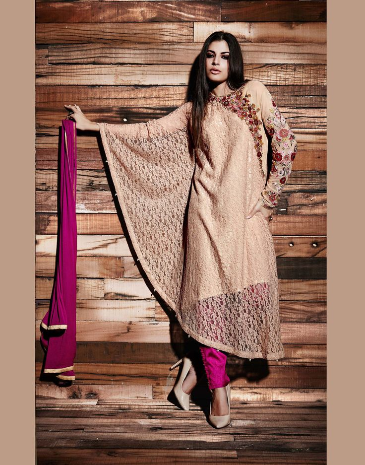 Peach Rasal Net Pakistani Style Suit 69395