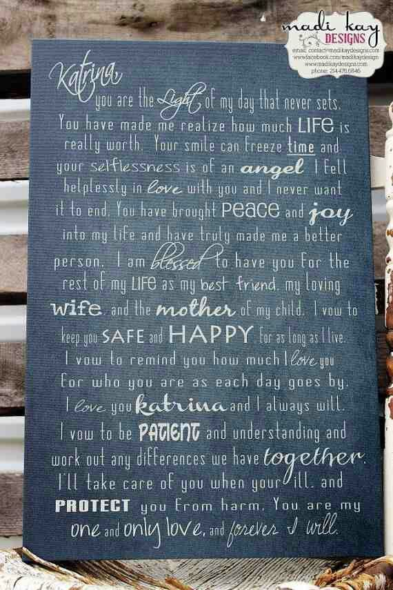 Personalized Wedding Vows On Canvas Typography Vow Art Father Of The Bride Mother His And Her