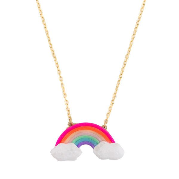 This Rainbow charm necklace hangs on a dainty gold electroplated chain, with an adjustable length. Charm is made with polymer clay. Chain measures 14 -15.