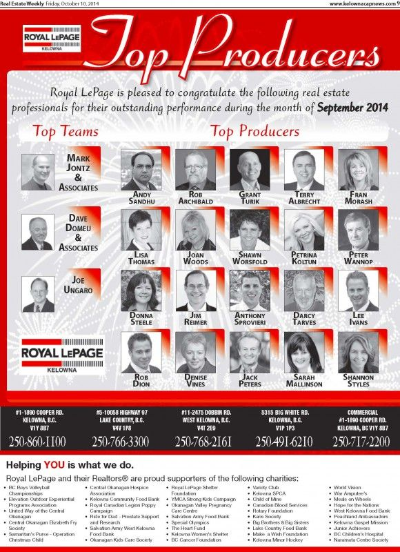 Congrats to the top professionals of Sept 2014   Royal LePage Kelowna Real Estate