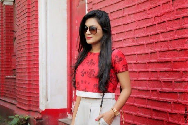 Styllogue | Indian Fashion,Style and Beauty Blog: Back to the Roots #croptop #masabagupta #masaba #houseofmasaba #prints #red #pleatedtrousers #zara #pumps #slingbag #stevemadden #sunglasses #marcjacobs #midiring #valliyan #valliyanmidiring