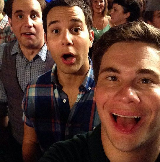 """While shooting Pitch Perfect 2 with Ben and Skylar, Adam joked, """"At 5am my pitch was far from perfect."""""""