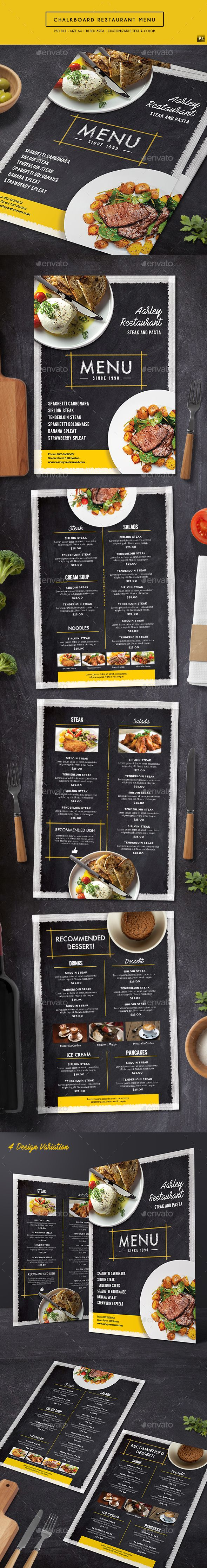 Chalkboard Restaurant Menu — Photoshop PSD #retro #style • Download ➝ https://graphicriver.net/item/chalkboard-restaurant-menu/19360869?ref=pxcr