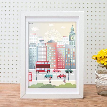 Londres,  ilustración, ilustración digital, imprimibles, poster,  poster londres, laminas decorativas, ciudades, laminas, casas, color, arte