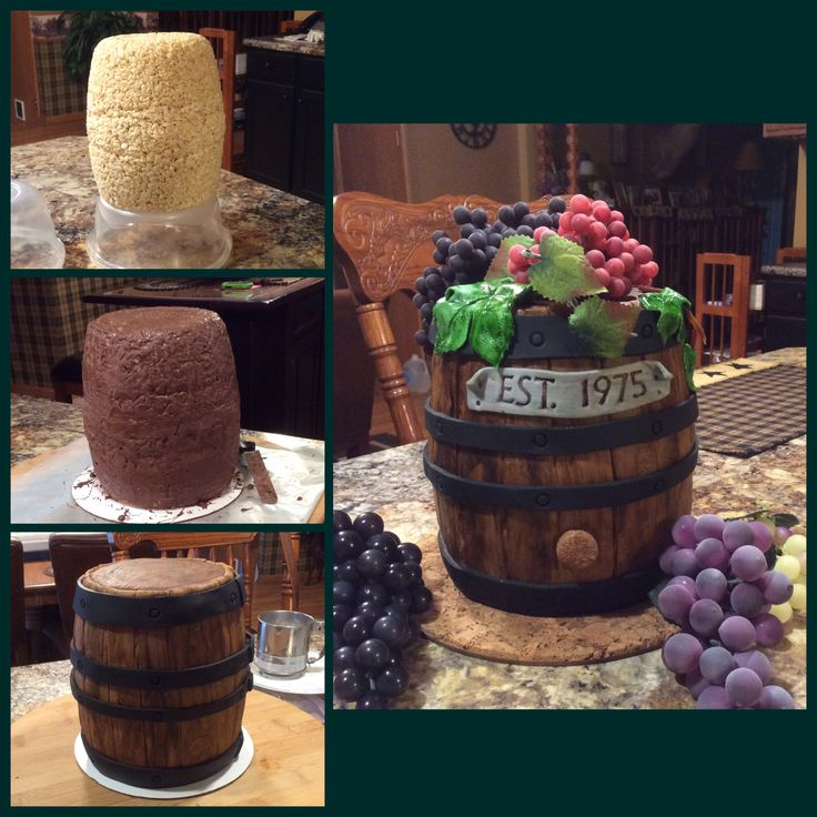 How the barrel was made. The finished barrel had fondant grapes.