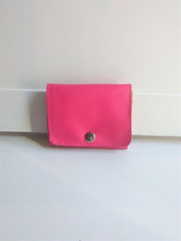 Pequeña Cartera de Cuero Rosa, Monedero para Mujer Rosa, Pequeña Cartera de Piel color Rosa de NURIMUSHOP en Etsy