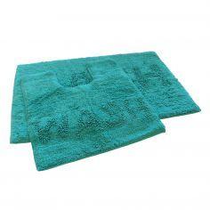 Bath & Wash 100% Cotton Sparkly Bath Mat Set - Teal