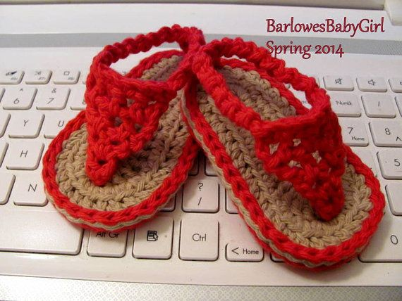NEW  Pattern Crochet Baby Flip Flop Sandals   by BarlowesBabyGirl, $5.25