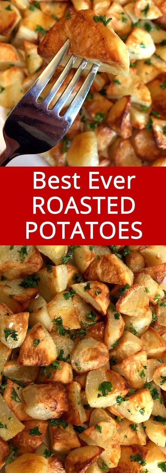 These oven roasted potatoes are amazing! So easy to make, perfectly golden brown and crispy! I love this recipe!