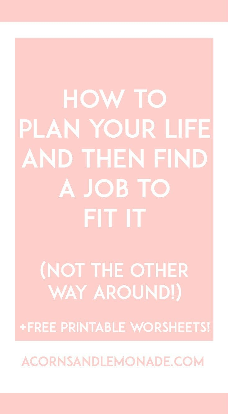Far too often we are concerned with the job we are going to have, only to realise that the job we have limits our life in some way or another. I propose planning a life first, and finding a job second. Plus a FREE printable to help you with your search! // Acorns and Lemonade.com
