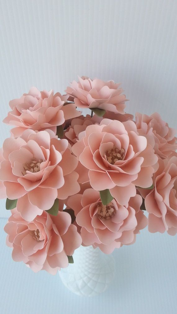 Paper Flowers - Wedding Flowers - Table Decor - Centerpieces - Blush Pink - Custom Color - Made To Order - Set of 24