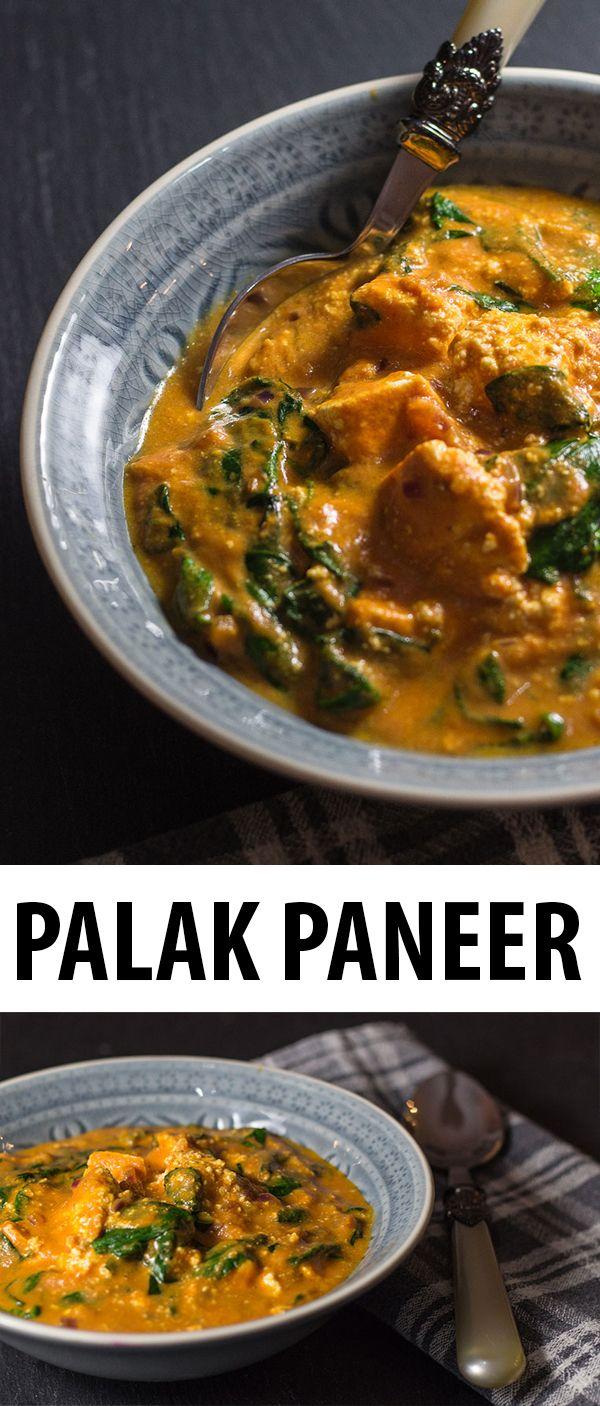 Palak Paneer, selbst gemachter indischer Frischkäse mit Spinat, Tomaten und indischen Gewürzen. Schnell, einfach und sehr lecker!