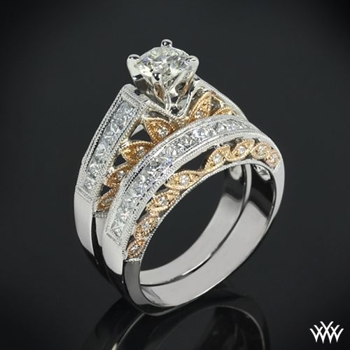 "18k White and Rose Gold ""Delicate Blush"" Diamond Engagement Ring and"