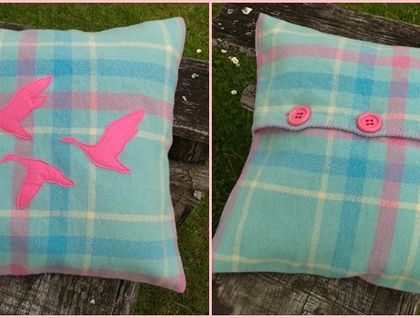 Retro Blue & Pink wool blanket cushion cover with pink felt ducks