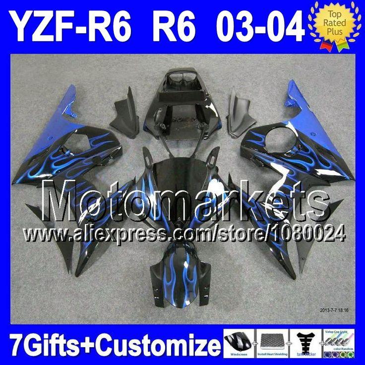 Синий 7 подарки + тела для YAMAHA YZFR6 03 04 YZF-R6 03-04 синий черный K9461 YZF R6 YZF600 R6 YZF R 6 2003 2004 обтекатель комплект