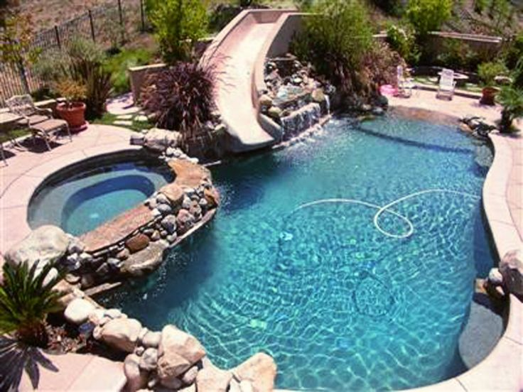 17 best images about swimming pool ideas on pinterest for Garden swimming pool with slide