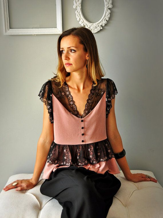 Lace Blouse Lace Top by HannaBoutiqueHB on Etsy