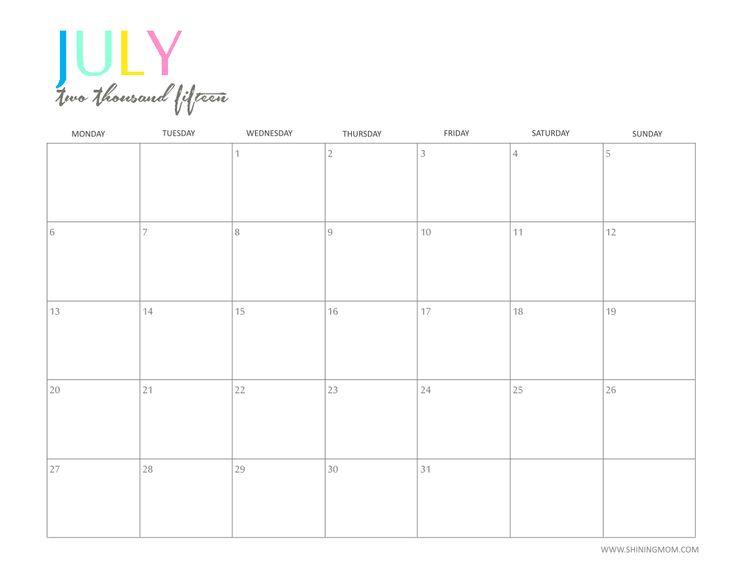 July 2016 Calendar Usa