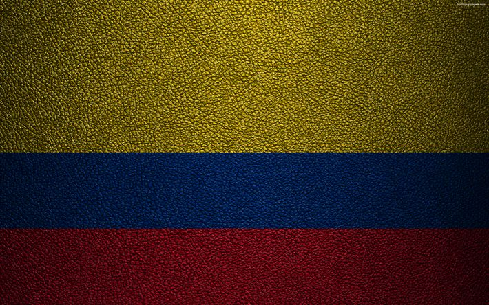 Download wallpapers Flag of Colombia, 4K, leather texture, Colombian flag, South America, Colombia