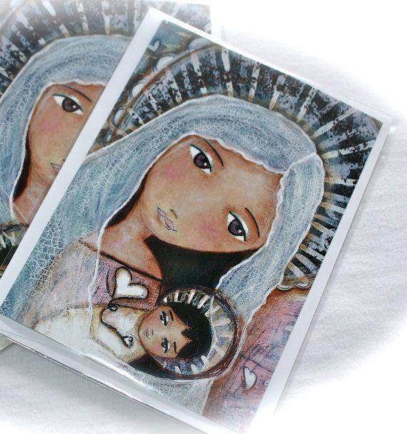 New Card! Sharing Hearts  Greeting Card 5 x 7 inches  Folk Art by FlorLarios, $5.00