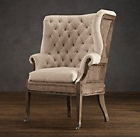 Deconstructed 19th C. English Wing Chair Antique Cotton ~ Restoration Hardware