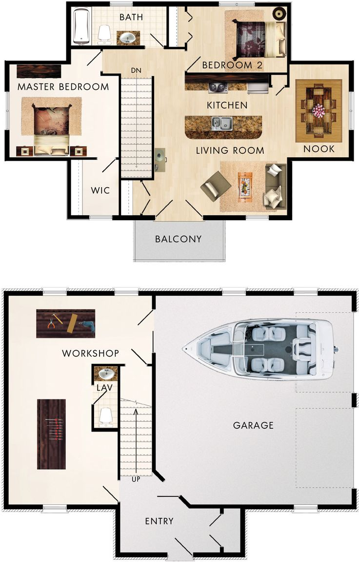 Garage with upstairs apartment / maybe sauna in back of garage. Cotswold II Floor Plan