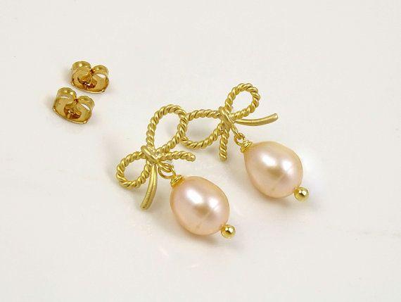 Gold Knot Earrings, Post Earrings, Small Gift Ideas, Gold Earrings for Women, Freshwater Pearl Earrings, Bridesmaid Gift, Wedding Gift