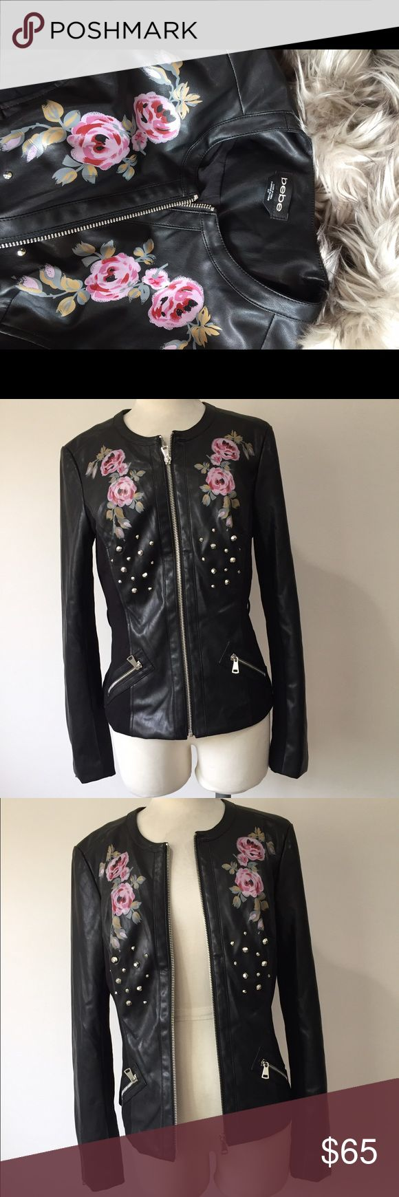 🌸Bebe vegan leather floral bomber jacket 🌸 Floral embroidery is one of the biggest fashion trends this year. Here is your chance to own this gorgeous painted floral bomber for a fraction of the price. This jacket also includes a matching belt. 🌺🌸🌷😍 bebe Jackets & Coats