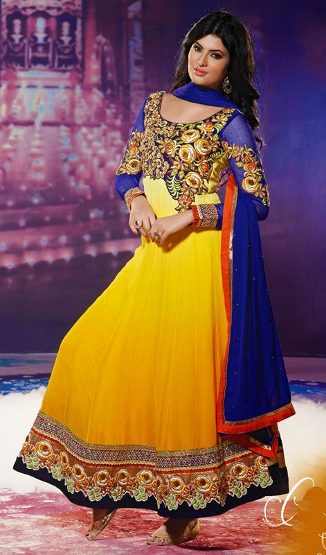 Geeta Basra Blue and Yellow Georgette Long Anarkali Suit Price: Usa $141, British UK Pound £82, Euro104, Canada CA$151 , Indian Rs7614.